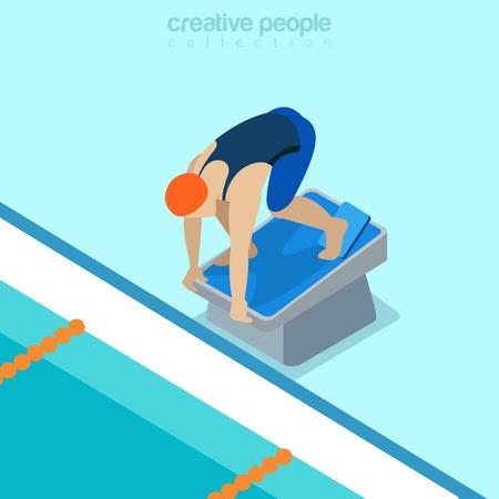 Flat isometric swimmer start position on pedestal vector illustration. Sportsman 3d isometry image. Summer international competition concept.
