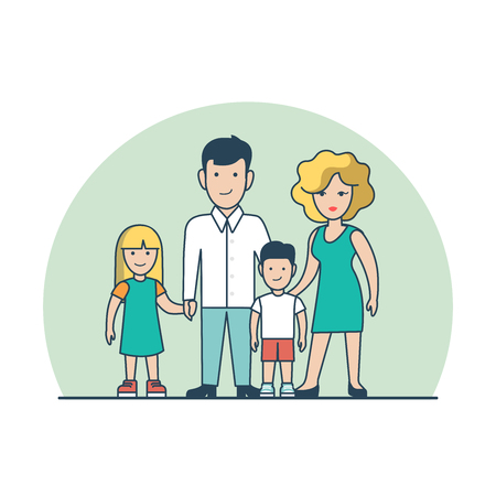 parenting: Linear Flat couple standing with children vector illustration. Parenting, family value concept.