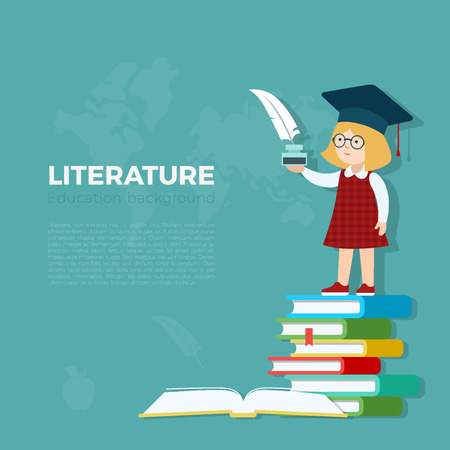 essay: Literature lesson background vector illustration. Pupil girl standing on book heap with feather and ink bottle. Primary school education concept.