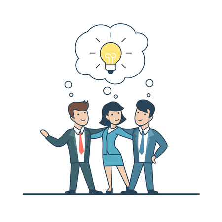 Linear Flat Businesspeople thinking on idea, lamp in chat bubble vector illustration. Business Investments concept.
