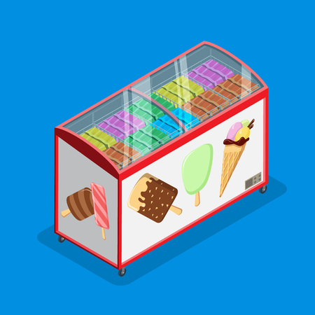 Flat isometric ice cream and gelato sale fridge vector illustration. 3d isometry food and drink, sweet desserts objects collection piece.