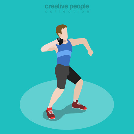 Flat isometric Core Thrower vector illustration. Shot Put Sportsman (athlete) 3d isometry image.  International summer competition concept.