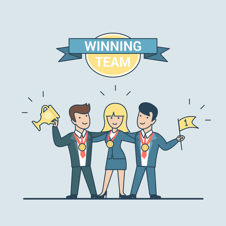 winning team: Linear Flat businesspeople hugging with medal, winner cup and flag in hands vector illustration. Ribbon label and frame Winning Team. Successful Business concept. Illustration