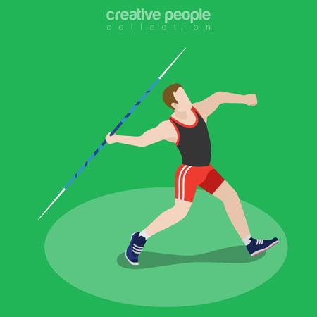 lanzamiento de jabalina: ilustración vectorial lanzador de jabalina isométrica plana. Deportista (atleta) Imagen isométrica 3D. concepto de competencia internacional de verano.