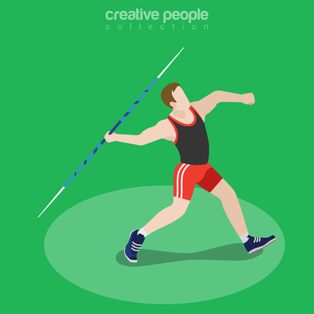 Flat isometric Javelin Thrower vector illustration. Sportsman (athlete) 3d isometry image.  International summer competition concept.
