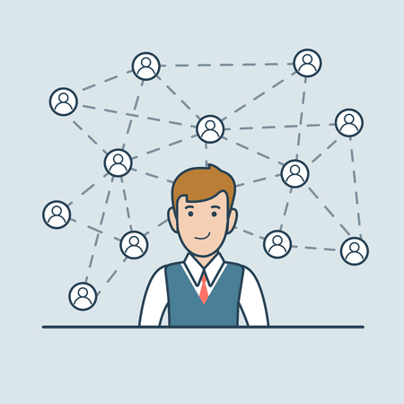 business team: Linear Flat Happy businessman with social media network lines and icons around vector illustration. Business network team communication concept. Illustration