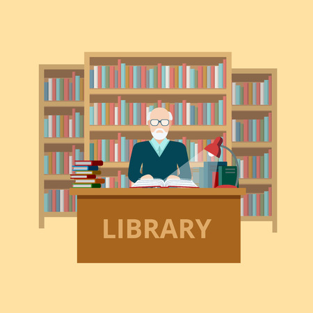 reader: Flat librarian worker or reader at library table vector illustration. Education and knowledge concept.