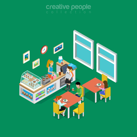 comedor escolar: Isometric flat eatery, canteen, cafe or dining room interior in school, college or university vector illustration. Food and drink 3d isometry concept. Coffee, snack donuts, desserts and lemonade. Vectores