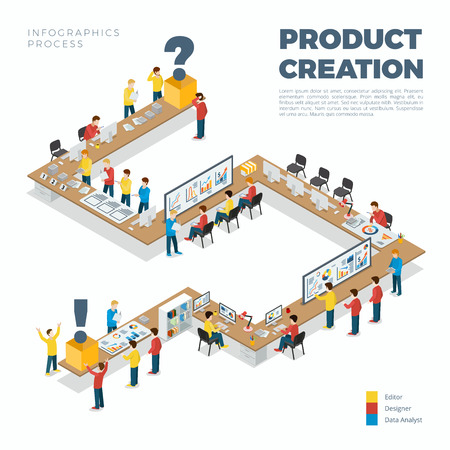 Flat isometric product creation process vector illustration. 3d isometry business infographics concept. Long table from idea research to ready for sale item.