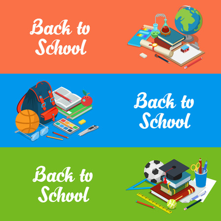 school website: Isometric flat set of back to school website hero images vector illustration. Education and knowledge 3d isometry concept. Science and classes, backpack and homework objects.
