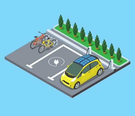 벡터 일러스트 레이 션을 충전 자전거와 전기 자동차 플랫 등각 주차장. 3D는 현대적인 도시의 시설과 서비스 아키텍처 수집을 등거리 변환.