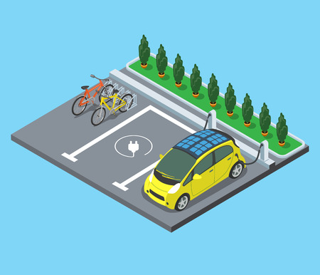 Flat isometric Parking for bicycles and electro cars charging vector illustration. 3d isometry modern city facilities and services architecture collection.