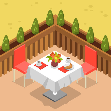 stools: Flat isometric restaurant terrace outdoor table for two vector illustration. 3d isometry cafe coffee and croissant breakfast concept.