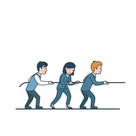 empresarios planos lineales reunir ilustración vectorial de cuerda. Trabajo en equipo y concepto de la asociación.