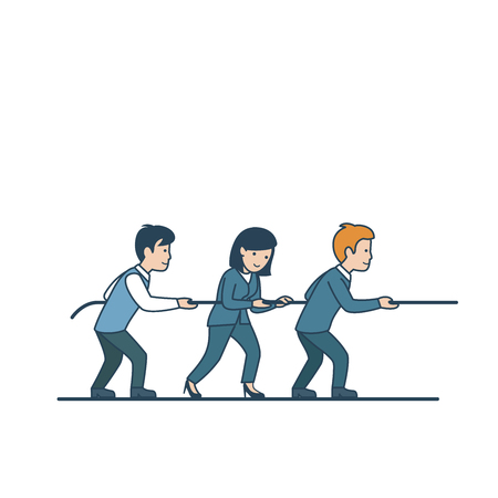 Linear Flat businesspeople pulling together rope vector illustration. Business teamwork and partnership concept.