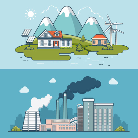 polluted cities: Linear Flat modern eco friendly town compared to heavy industry polluted plant vector illustration. Ecology and nature pollution concept.