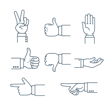 thumb up: Line art human Finger pointing, thumbs up, like, okay, victory symbol isolated on white background vector illustration set. Hand gesture concept.