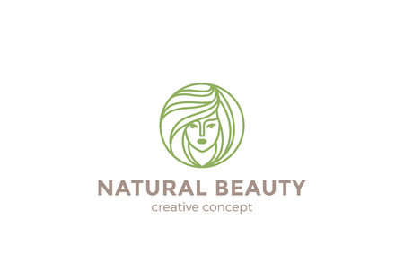 natural beauty: Beauty Hairdresser salon Woman  design vector template circle shape. SPA, Fashion, Makeup, Hairdressing girl  concept icon linear style