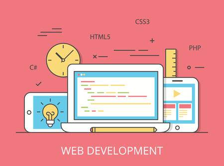 css3: Linear Flat responsive web development layout website hero image vector illustration. App programming technology and software concept. C#, PHP, HTML5, CSS3 technologies, laptop, tablet and smartphone.