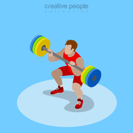 crossbar: Flat isometric power lifter lifting barbell vector illustration. Sportsman 3d isometry image. Summer international competition concept. Illustration