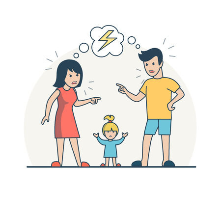 parenting: Linear Flat Parents quarrelling, baby reconciling them vector illustration. Family values and parenting concept.