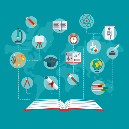 Flat conceptual open book with education icons connected by dashed lines vector illustration. Education and knowledge infographics concept. Graduation certificate, science, art and school objects.