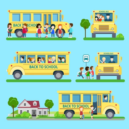 bus station: Flat set of school bus situations vector illustration. Education and knowledge, back to school concept. Bus station, children pick up, loading, unloading group of students.