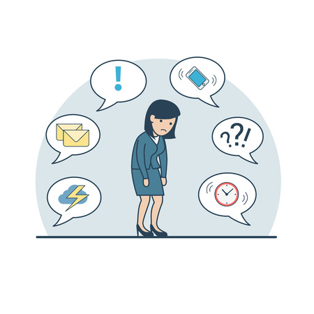 storm cloud: Linear Flat tired businesswoman shambles from fatigue; phone, storm cloud, mail, clock on chat babbles around vector illustration. Business deadline, multitasking concept.