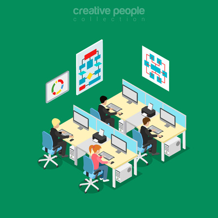 Isometric flat software developers and engineers office room vector illustration. Technology 3d isometry concept. Program code coders workplaces, algorithm block diagram wall posters. Illustration
