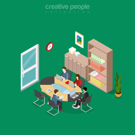 Flat isometric team collaboration in office meeting room interior vector illustration. 3d isometry business concept. Illustration