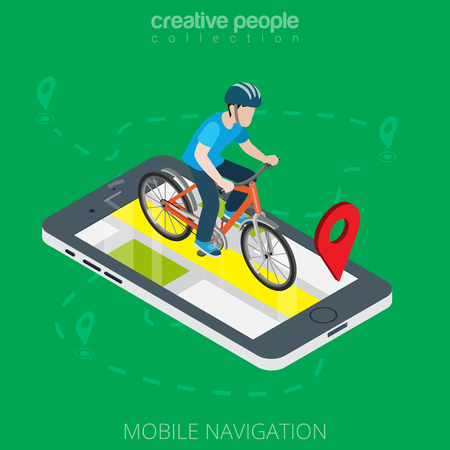 Flat isometric male cyclist over smartphone with GPS app map vector illustration. 3d isometry mobile navigation concept. Online or offline pocket navigator application image.