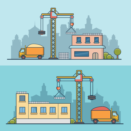 constructing: Linear Flat construction site vector illustration set. Building process business concept. Crane constructing concrete panels, tipper truck with sand.