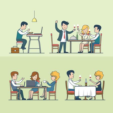 supper: Linear Flat people in restaurant vector illustration set. Food and drink concept. Dinner, celebration, supper, lunch and businessmen, businesswomen. Illustration