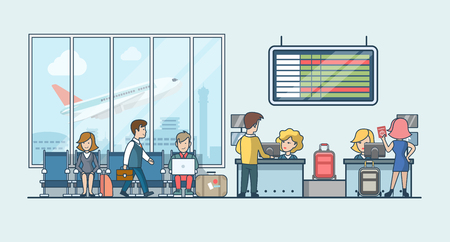 Linear Flat people on airport waiting hall and flight registration luggage stripe vector illustration. Public transportation concept. Illustration