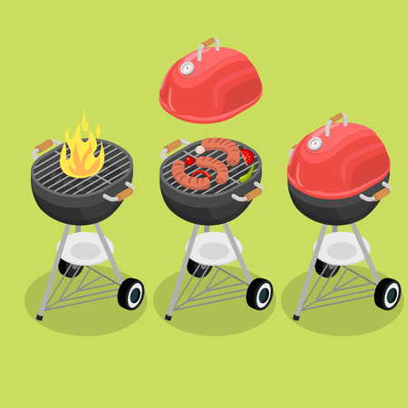 sensor: Flat isometric grill barbecue equipment vector illustration set. 3d isometry burning fire, sausage and vegetables baking, closed cover with temperature sensor. Illustration