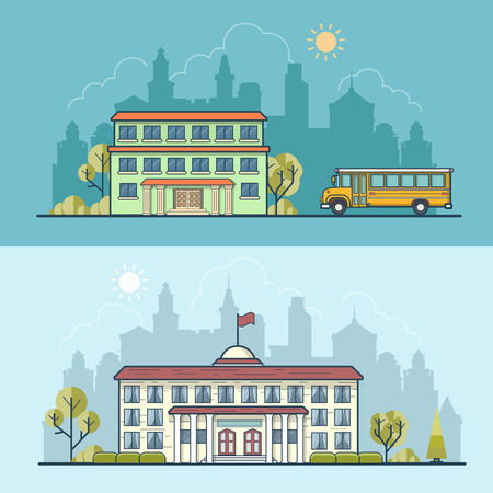 municipal: Flat school building facade entrance, bus and municipal governmental center vector illustration set. Modern and classic city architecture concept.