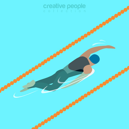crawl: Flat isometric male swimmer on lane swimming crawl style vector illustration. Sportsman 3d isometry image. Summer international competition concept.