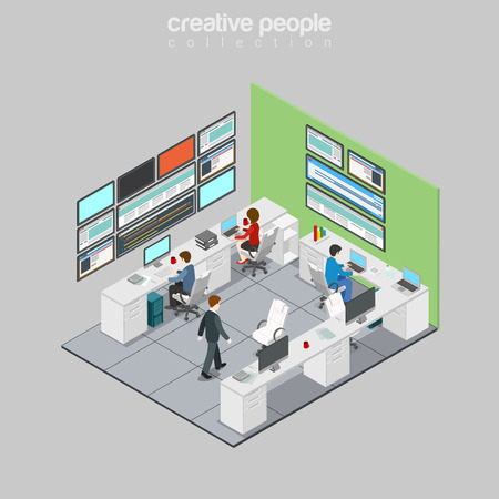Flat isometric Businesspeople working in Technology and Development department of refinery station vector illustration. 3d isometry Oil refining industry business concept. Vectores