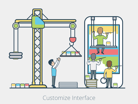 managing: Linear Flat micro people team painting blocks on mobile screen, leader managing process vector illustration. User interface development concept. Illustration