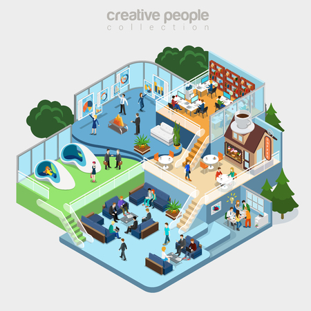 Flat isometric Modern office interior, businesspeople working vector illustration. 3d isometry business concept. Cafeteria, Fitness, Meeting room, Teamwork brainstorming, Analytics department.