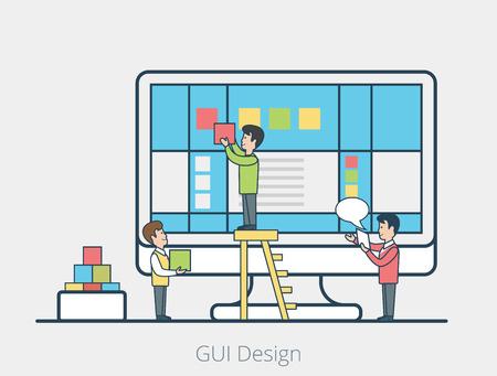 managing: Linear Flat micro people team fixing blocks on monitor screen, leader managing process vector illustration. User interface development concept. Illustration