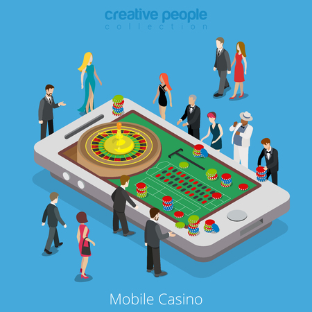 online roulette: Flat isometric Wealthy people standing around huge smartphone with roulette wheel and chips on table vector illustration. Virtual MMOG Mobile Casino, online game3d isometry concept.