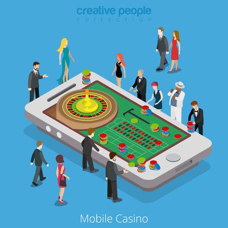 Wohnung isometrische Reiche Leute rund um die großen Smartphone mit Roulette-Rad und Chips auf dem Tisch Vektor-Illustration. Virtuelle MMOG Mobile Casino, Online-game3d Isometrie-Konzept. Vektorgrafik