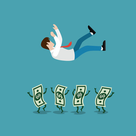 tossing: Flat Money banknotes tossing up winner businessman vector illustration. Successful business concept.
