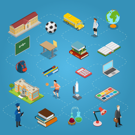 education icons: Isometric flat conceptual education icons connected by dashed lines vector illustration. Education and knowledge infographics 3d isometry concept. School building, books, stationery, transport, laptop