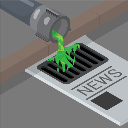 politics: Flat isometric News creation from disgusting green liquid coming from pipe to sewerage vector illustration. 3d isometry Dirty Politics concept. Illustration