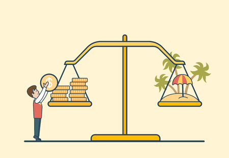 Linear Flat Dollar coins and island on scales, man putting coin to balance libra vector illustration. Vacation and travel investment concept.