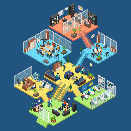 pisos planos isométricos centro de oficinas interiores, departamentos de la empresa con el ejemplo personal del vector. 3d isometría concepto de Arquitectura de Negocios. Director, contador, gerente, dispositivos cliente, secretaria caracteres