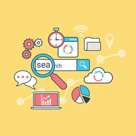 chat bubble vector: Linear Flat SEO optimization, laptop, diagram, cloud, gearwheel, search icon and chat bubble vector illustration. Analysis, database statistic system, search engine optimize concept.