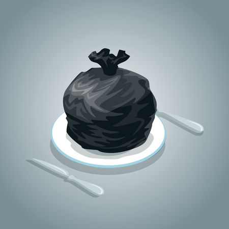 poke: Flat isometric Black full bag on white ceramic plate and cutlery around vector illustration. 3d isometry pig in a poke,  concept.